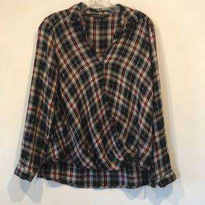 Rock & Republic Black and Red Drape Flannel Shirt